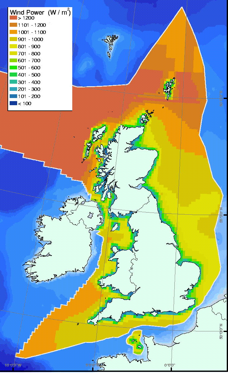 Map of UK offshore wind power density